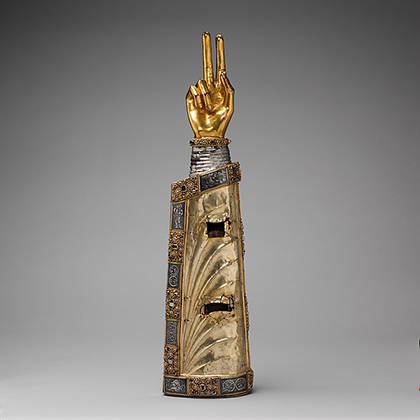 Arm Reliquary, Made in Meuse Valley, South Netherlands, Silver, gilded silver, niello, gems, with wooden core (ca. 1230)